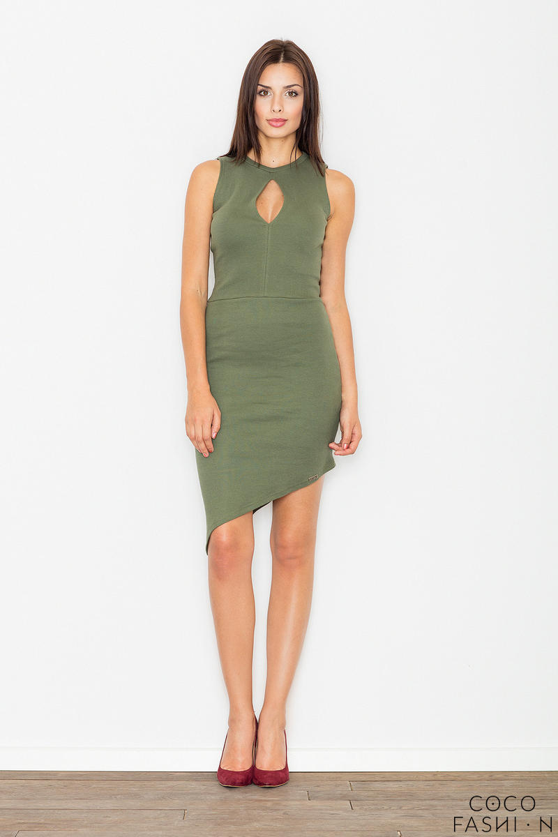 Green Asymetrical Bodycon Dress