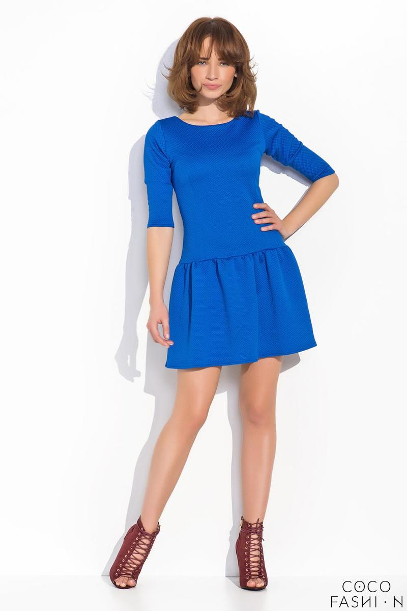 Blue Delicate Pattern Mini Dress with Frill