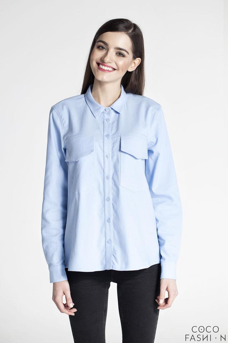 Blue Classic Long Sleeved Shirt with Big Pockets