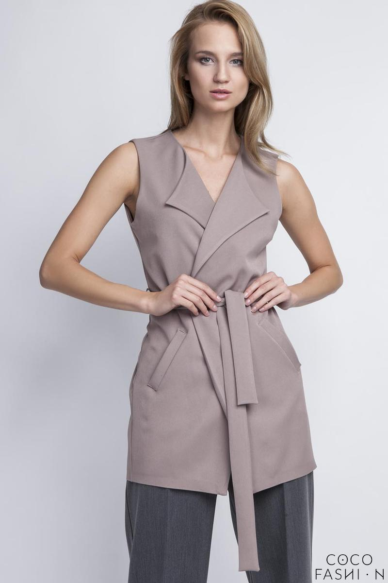 Beige Stylish Ladies Vest with a Belt