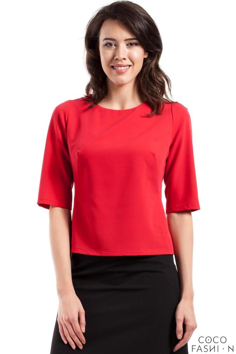 Red Classic 1/2 Sleeves Blouse