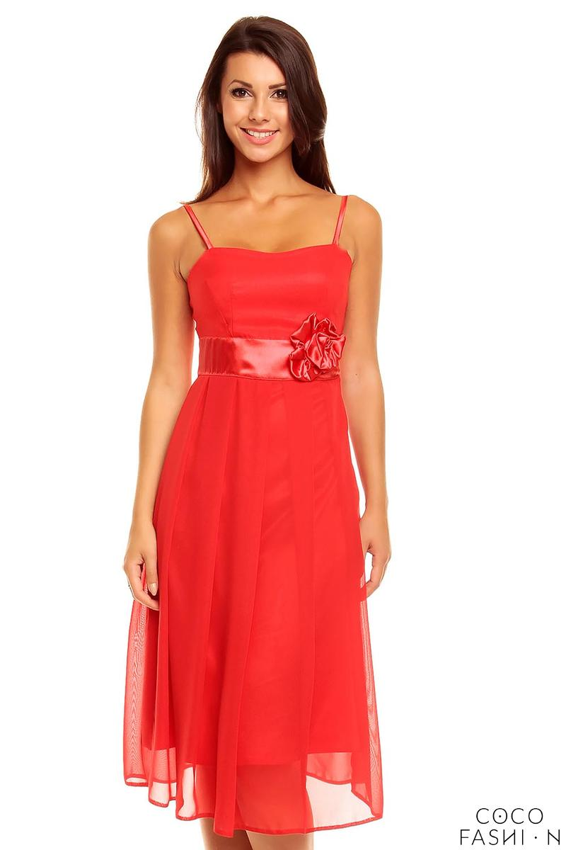Red Spaghetti Straps Coctail Dress with A Flower