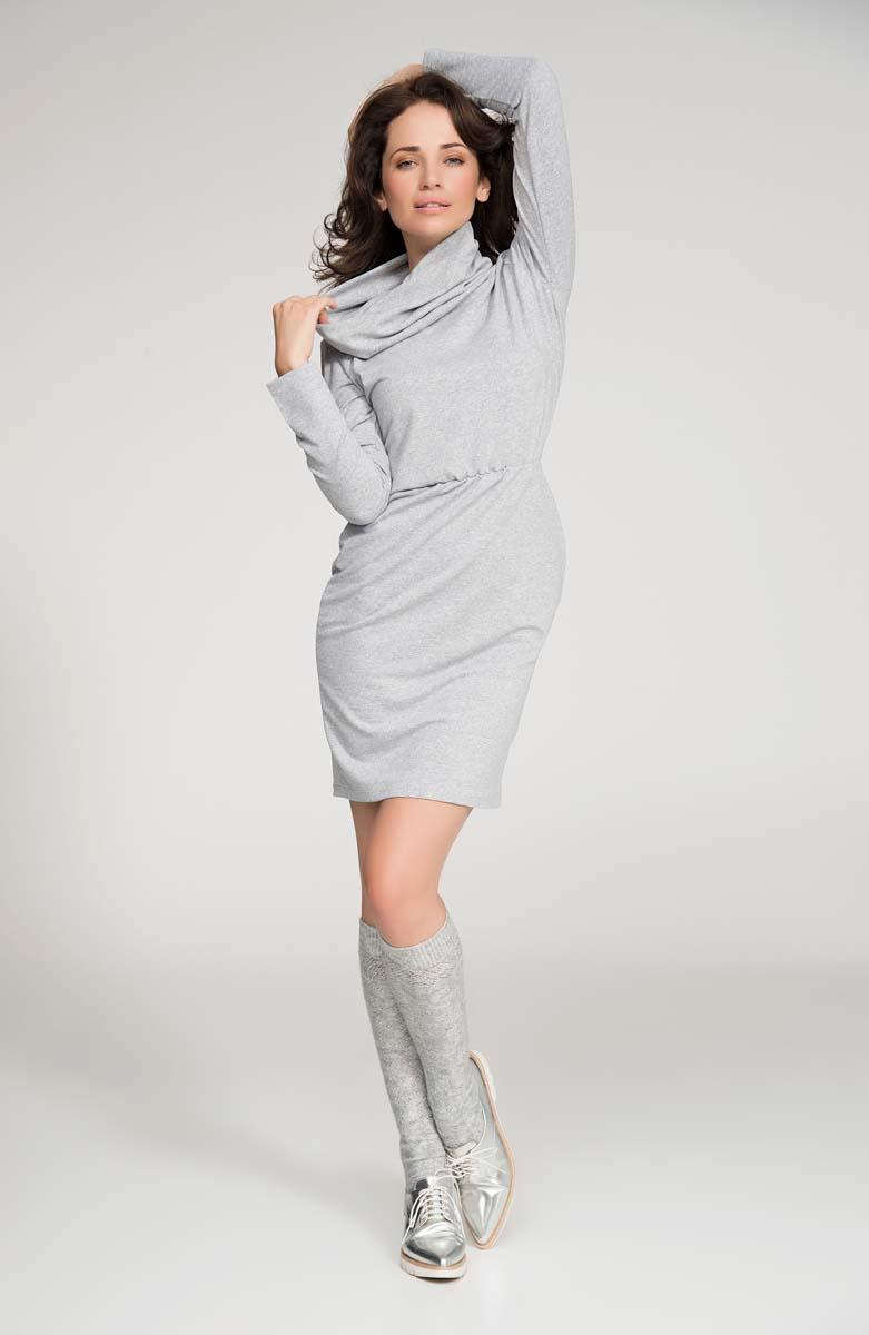 Grey Loose Tourtleneck Knee Length Dress
