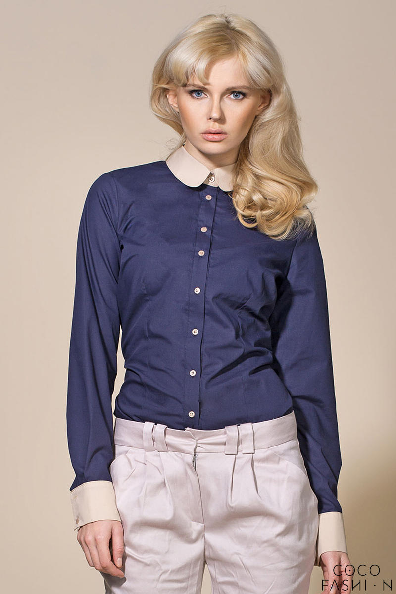 Navy Blue Vintage Blouse With Beige Round Collar And Cuffs