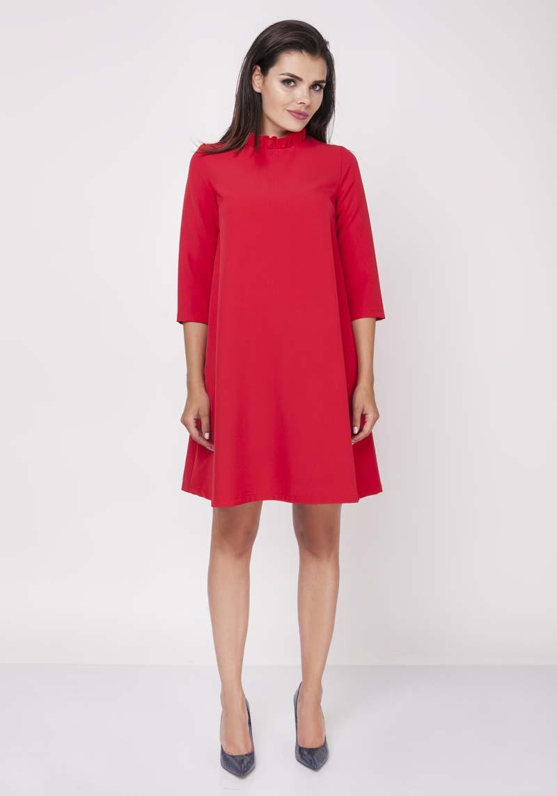 Red Midi Dress With Frilled Collar