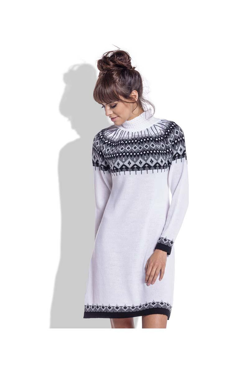 White Knitted Scandinawian Patterns Dress