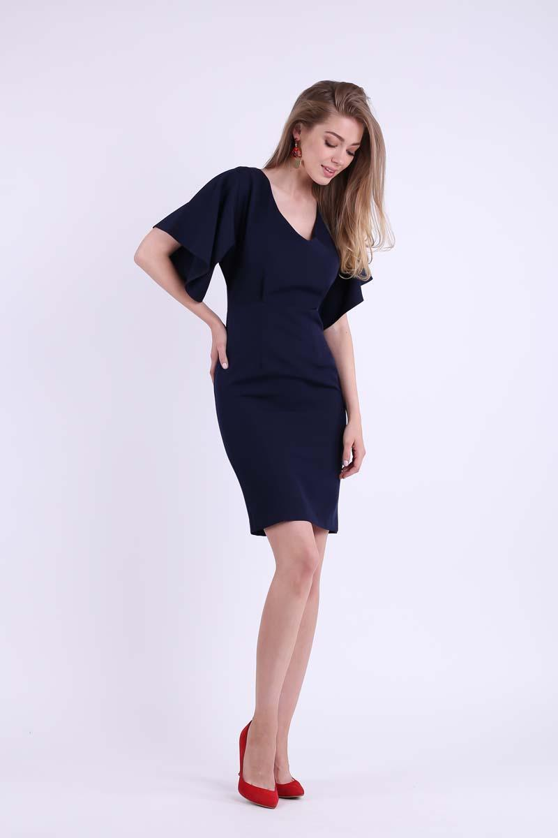 Navy Blue Pencil Dress with Neckline at the Back