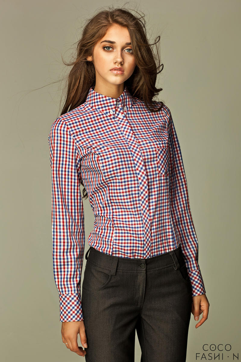 Varied Check Seam Red Shirt with Concealed Button Fastening