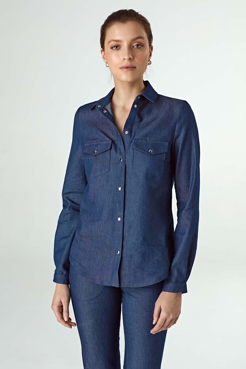 Denim Shirt with Snaps