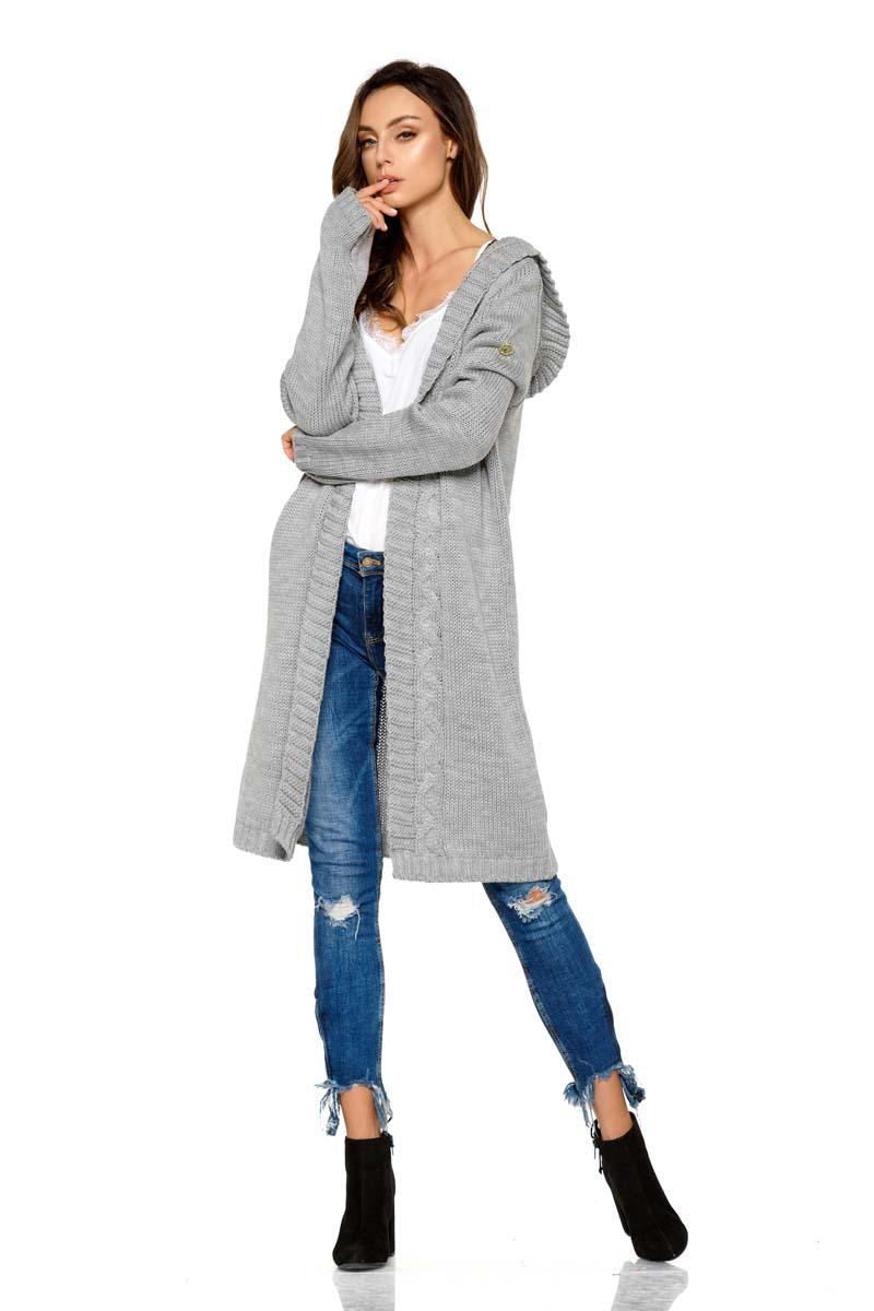 Light Grey Hooded Long Cardigan