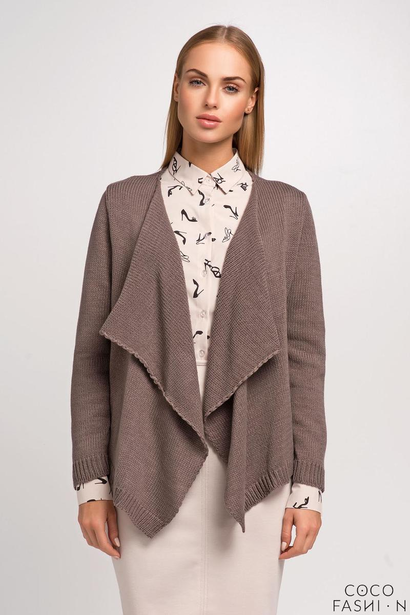 Cappuccino Stylish Loose Lapels Cardigan