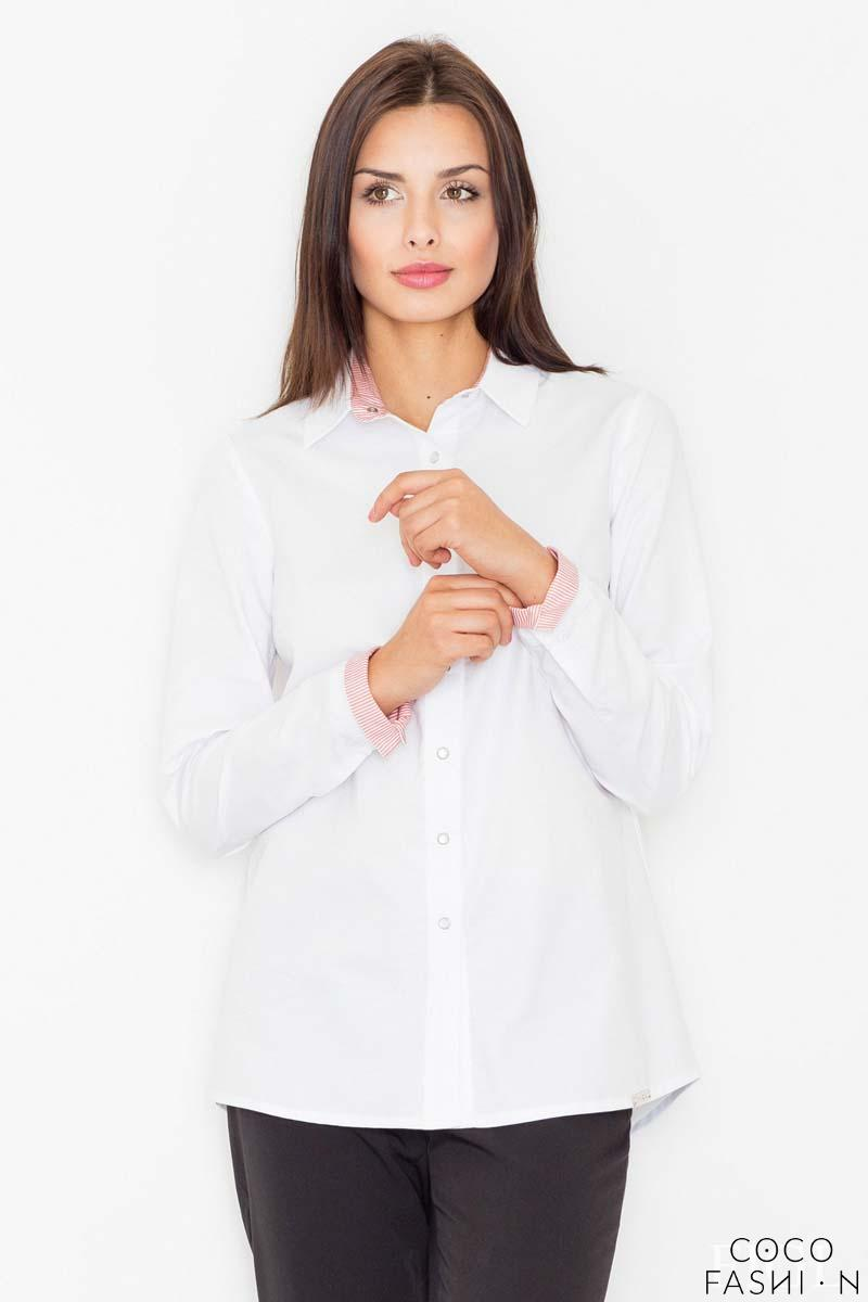White&Red Classic Collar Long Sleeves Shirt
