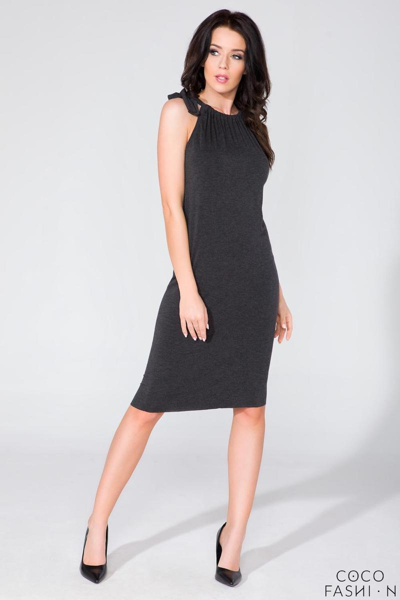 Black Fitted Summer Wrinkled Neckline Dress