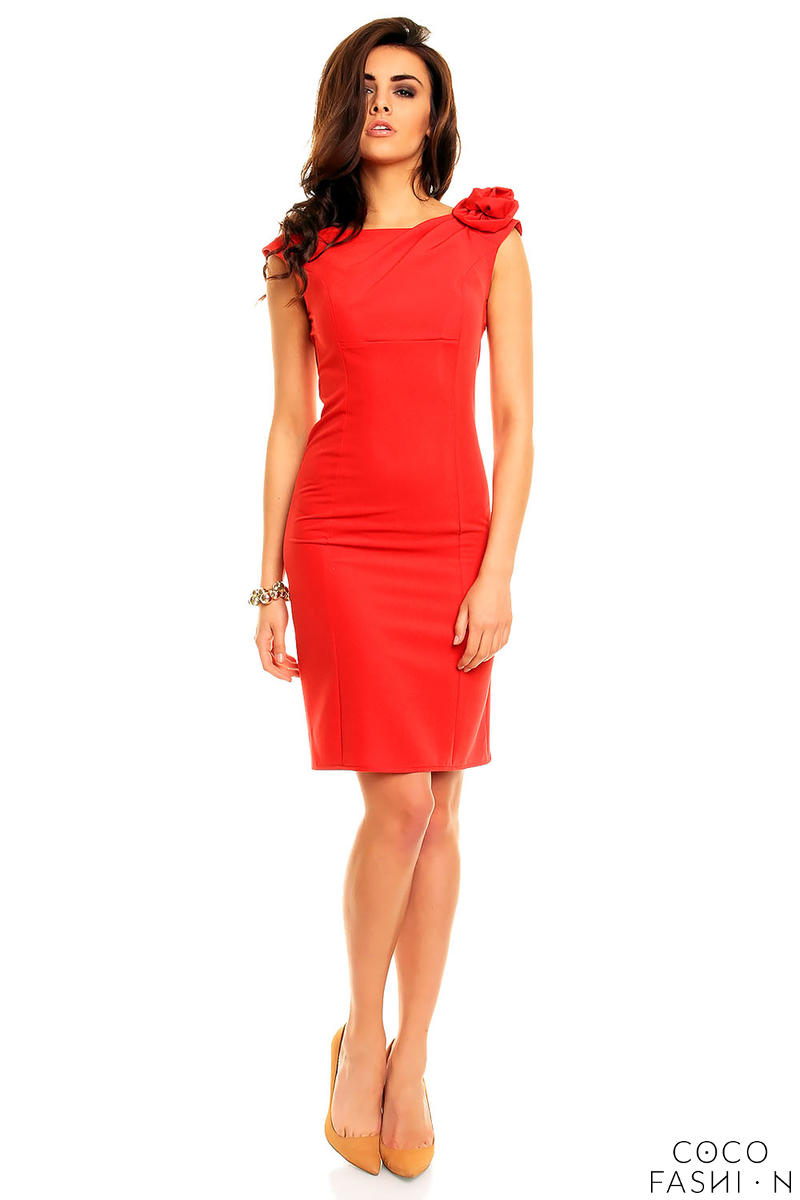Red Elegant Fitted Dress with Decorative Flower от cocofashion
