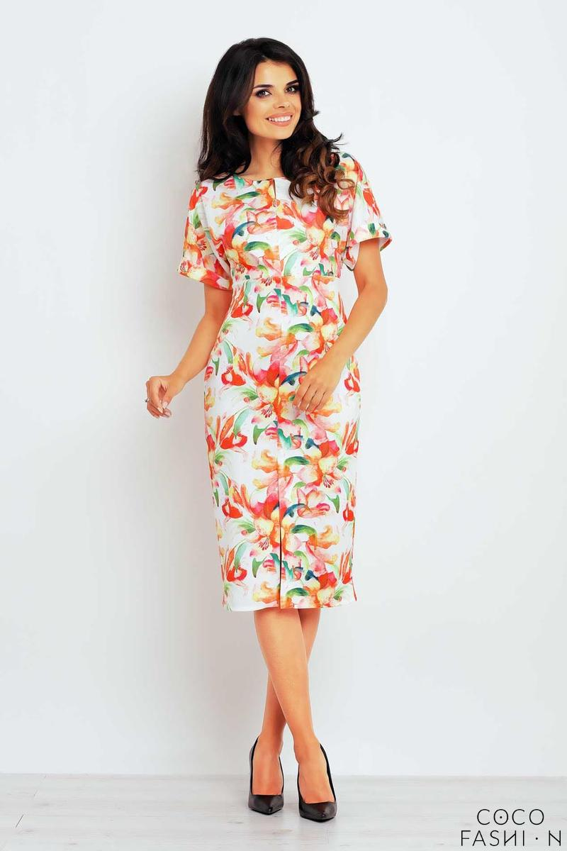 orange-pattern-short-sleeves-midi-dress
