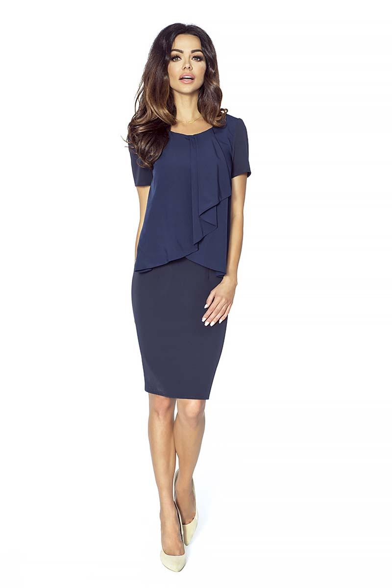 Dark Blue Elegant Two Layers Dress