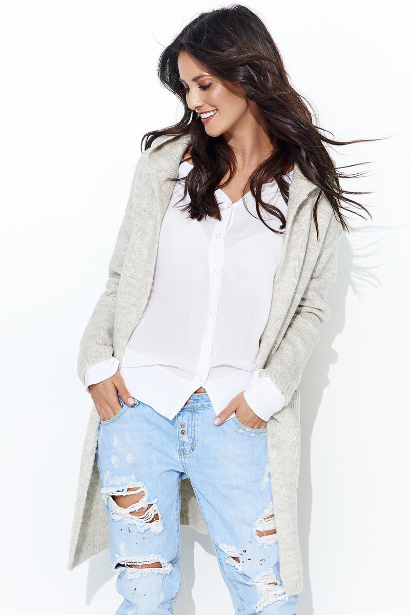 Beige Long Cardigan without a Clasp with a Hood