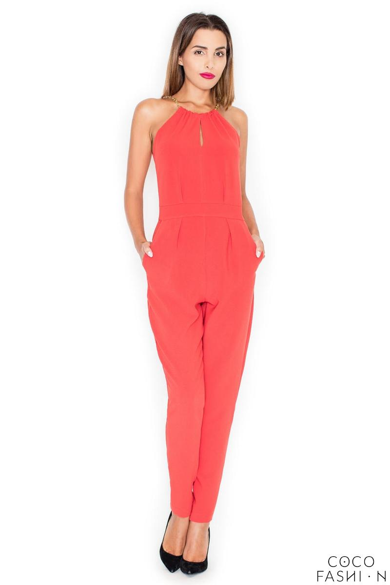 Red Elegant Chain Halterneck Long Legs Jumpsuit