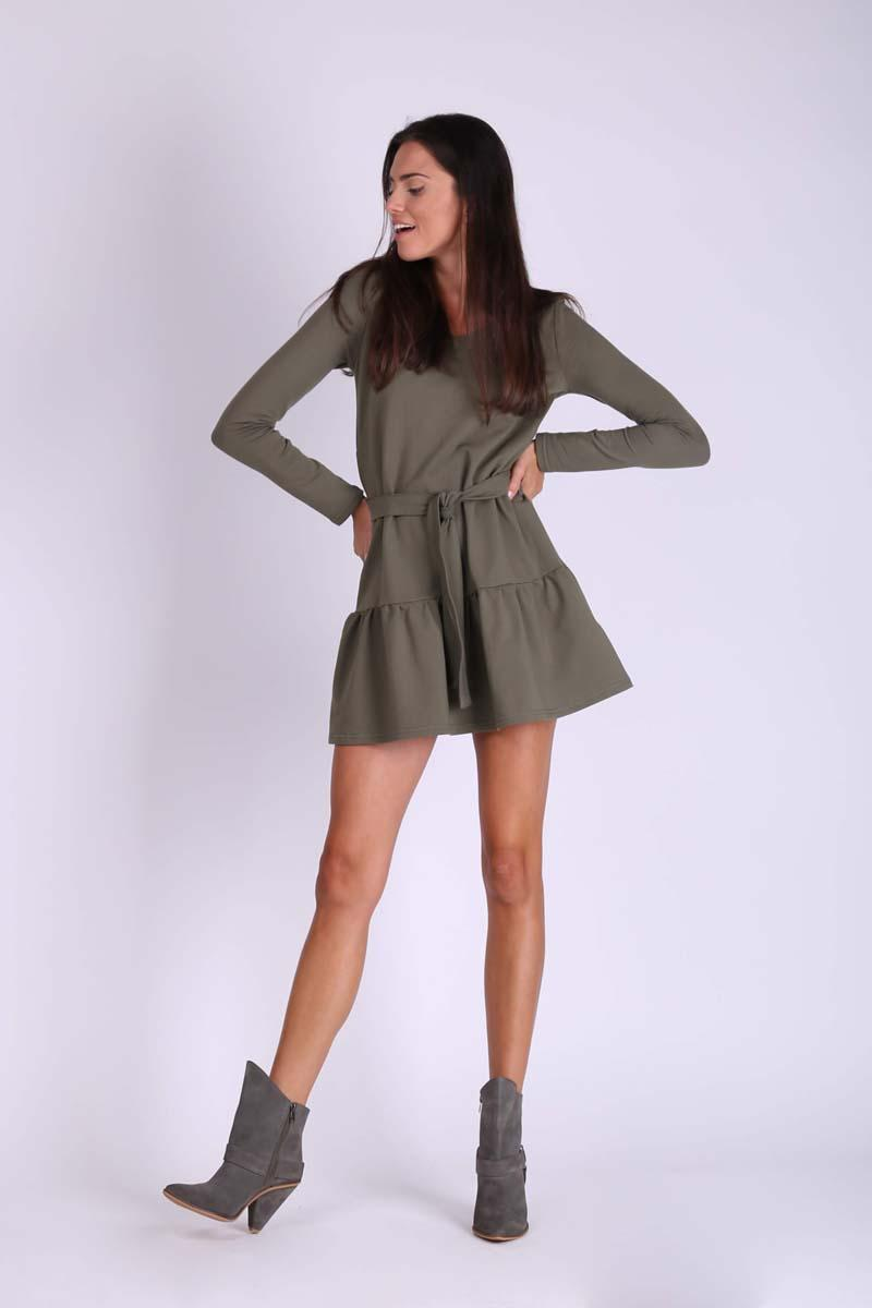 Khaki Short Girls' Frill Dress