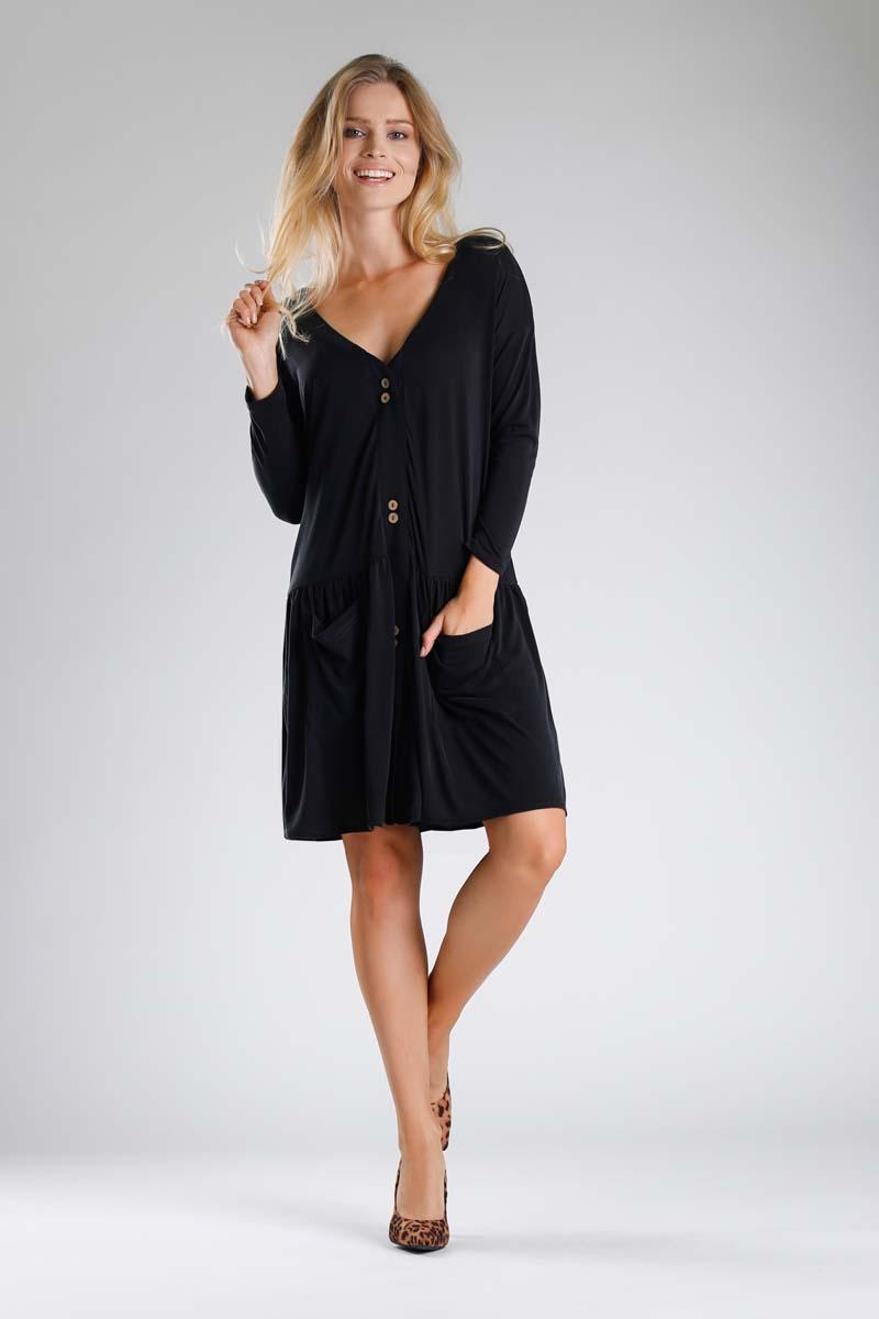 Black Dress with a Loose Fashion. Fastened with buttons