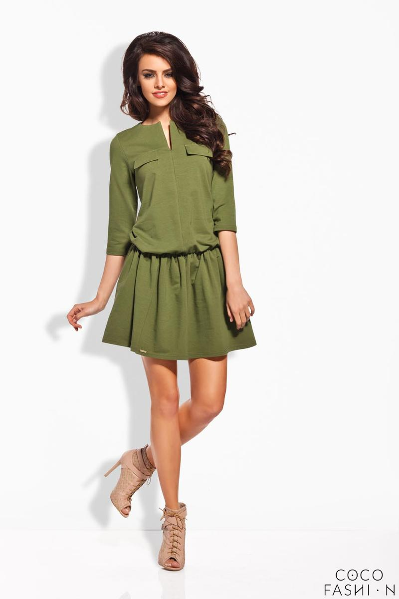 Khaki Elastic Waist 3/4 Sleeves Casual Dress