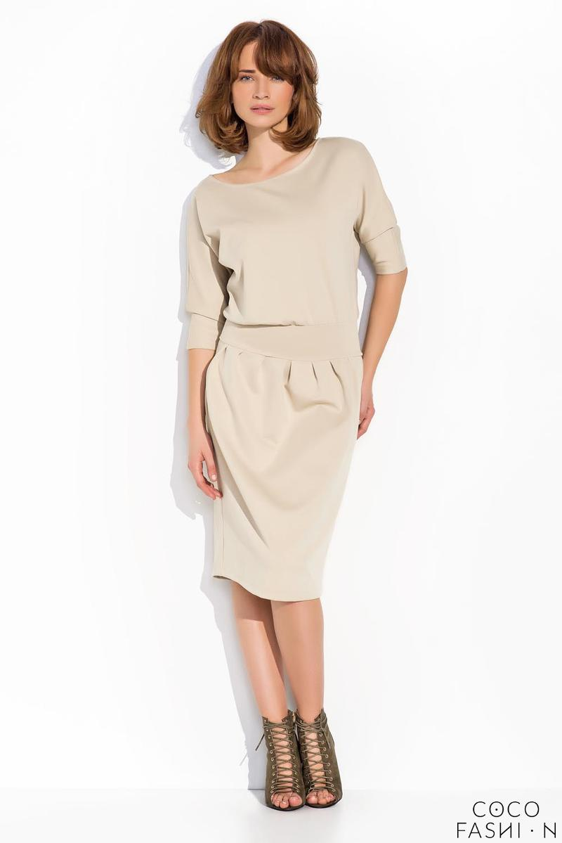 Beige Slim Waist Casual Dress with Pockets