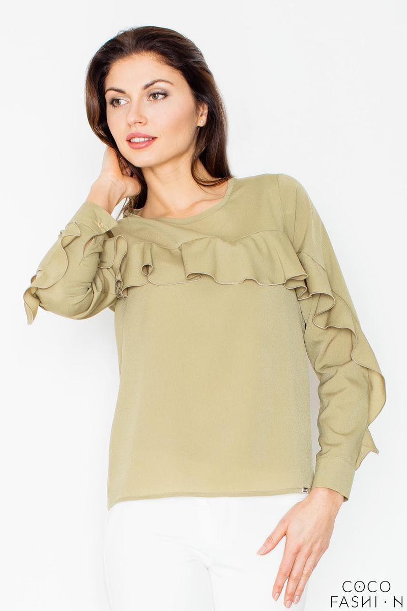 Green Long Sleeves Blouse with a Frill