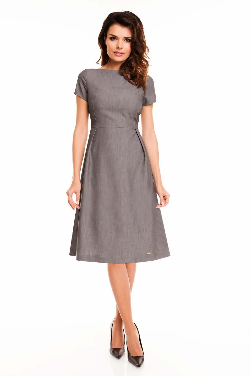 Grey Short Sleeves Midi Flared Dress