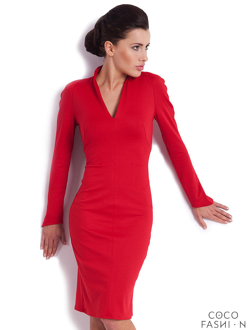 red-fitted-modern-swan-office-dress