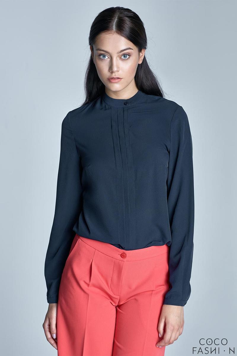 Dark Blue Long Sleeves Stand-up Collar Blouse
