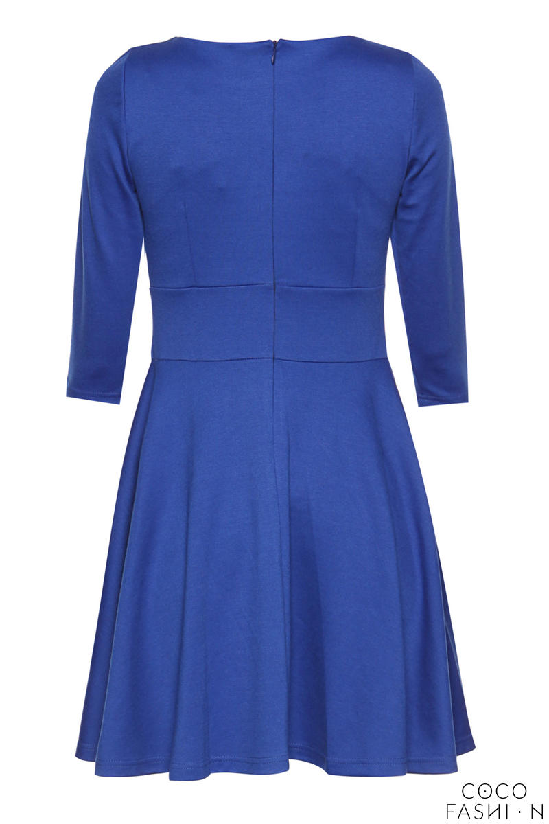 blue giggly fashion flared skirt dress