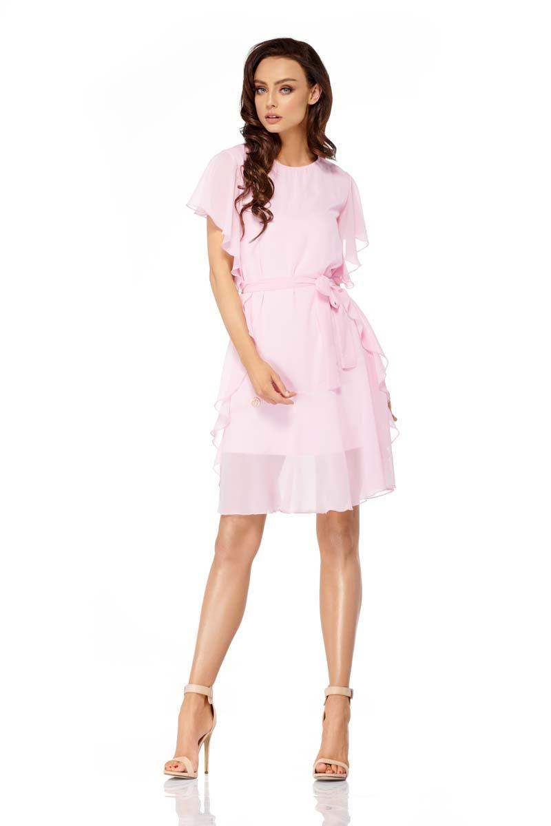 Powder Pink Airy Dress with Frills Tied Stripe