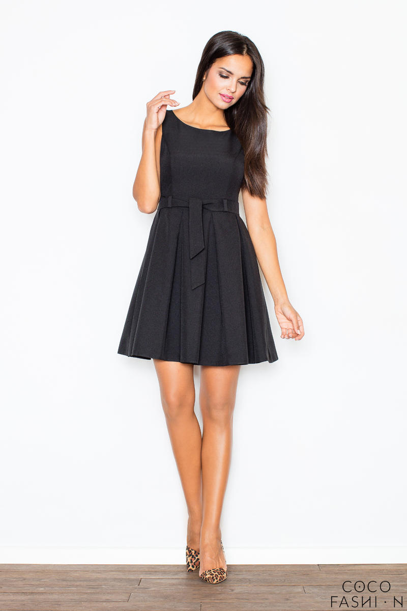 Pleated Belted Sleeveless Black Dress with Seamed Top