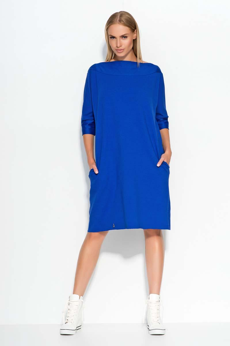 Blue Oversized Casual Dress with Side Pockets
