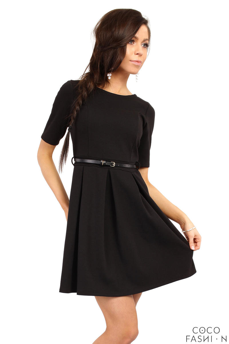 Black Magnanimous Modern Belted Tea-length Dress от cocofashion