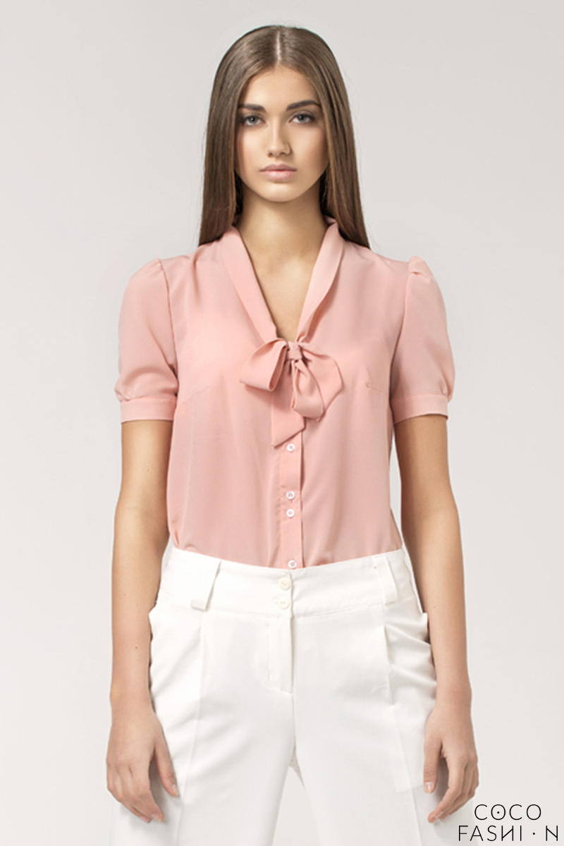 Pink Bow Neckline Pleated Back Chiffon Blouse