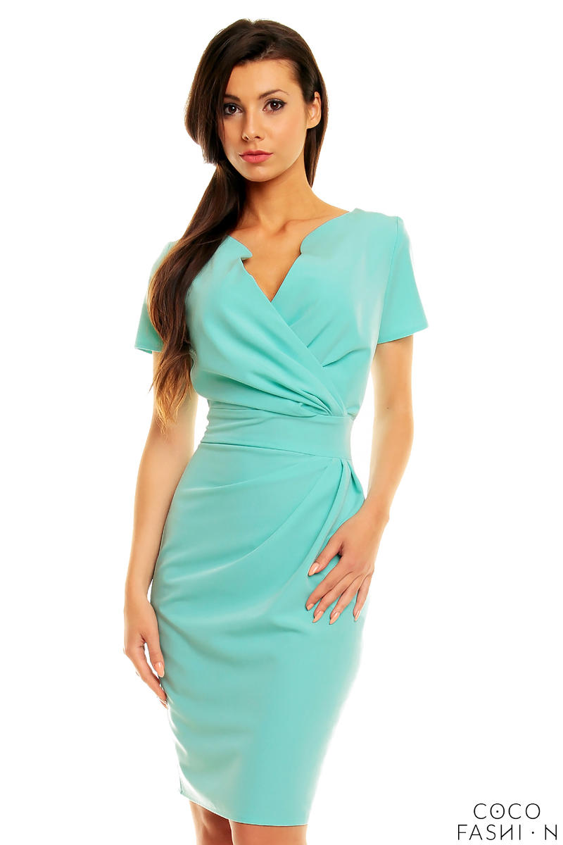 Mint Green Wrap Around Self Belted Sheath Dress