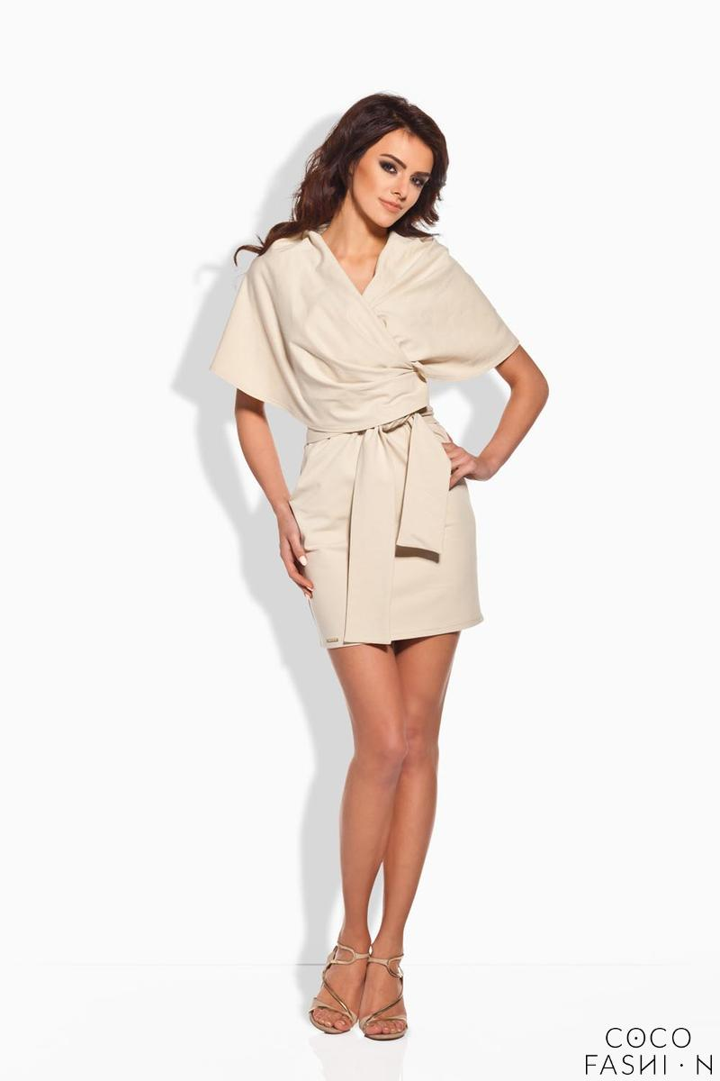 Beige Self Tie Mini Dress