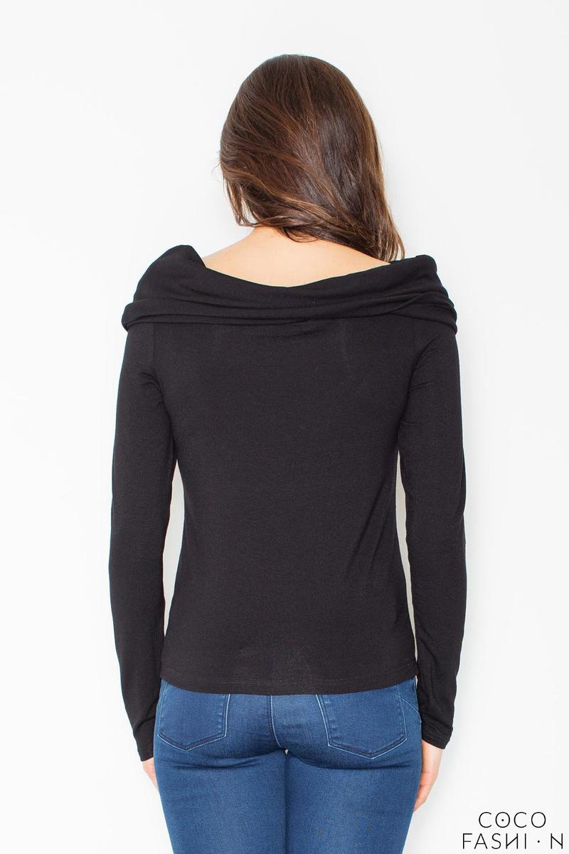 Black Knitwear Wide Tourtle Neck Blouse