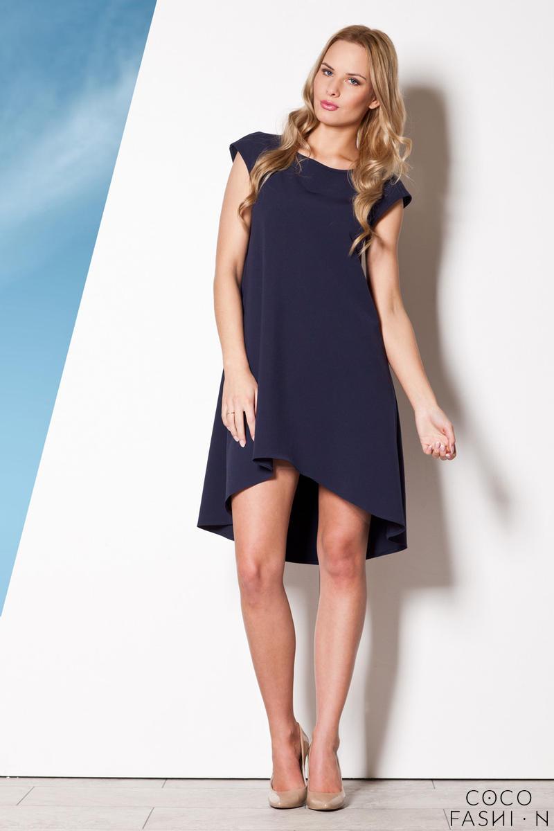 Blue Asymmetrical Shirt Dress with Cap Sleeves от cocofashion