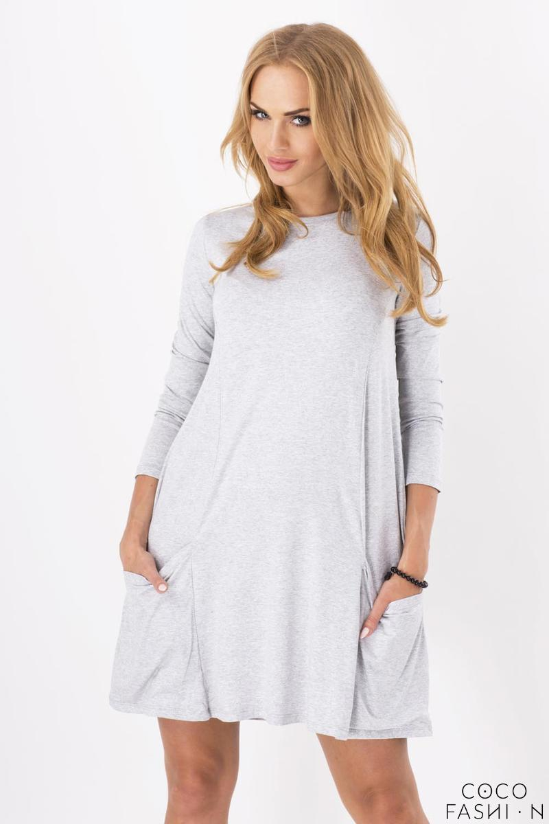 Grey Casual Flared Mini Dress with Pockets