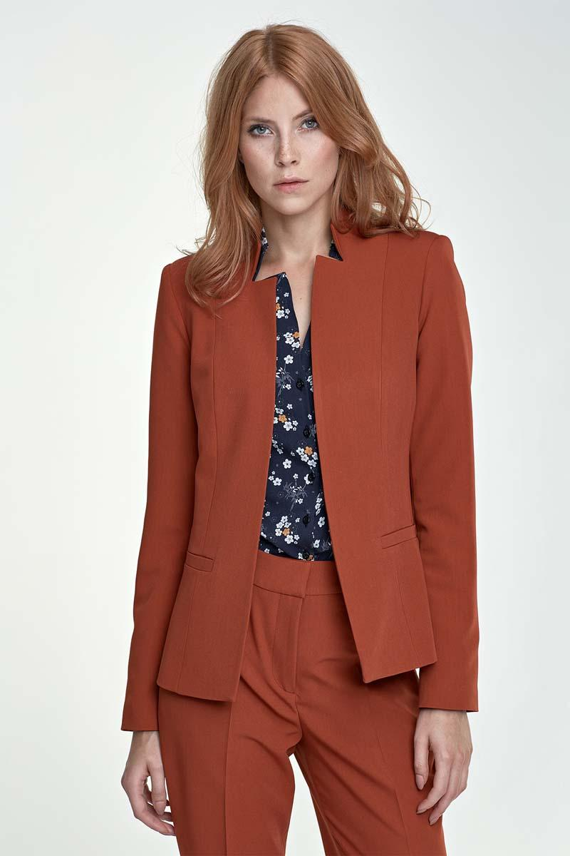 Brick Red Elegant Stand-up Collar Ladies Blazer