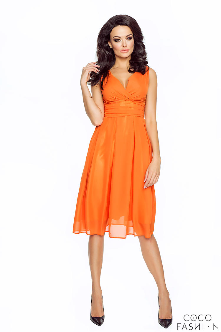orange-elegant-deep-neck-evening-dress