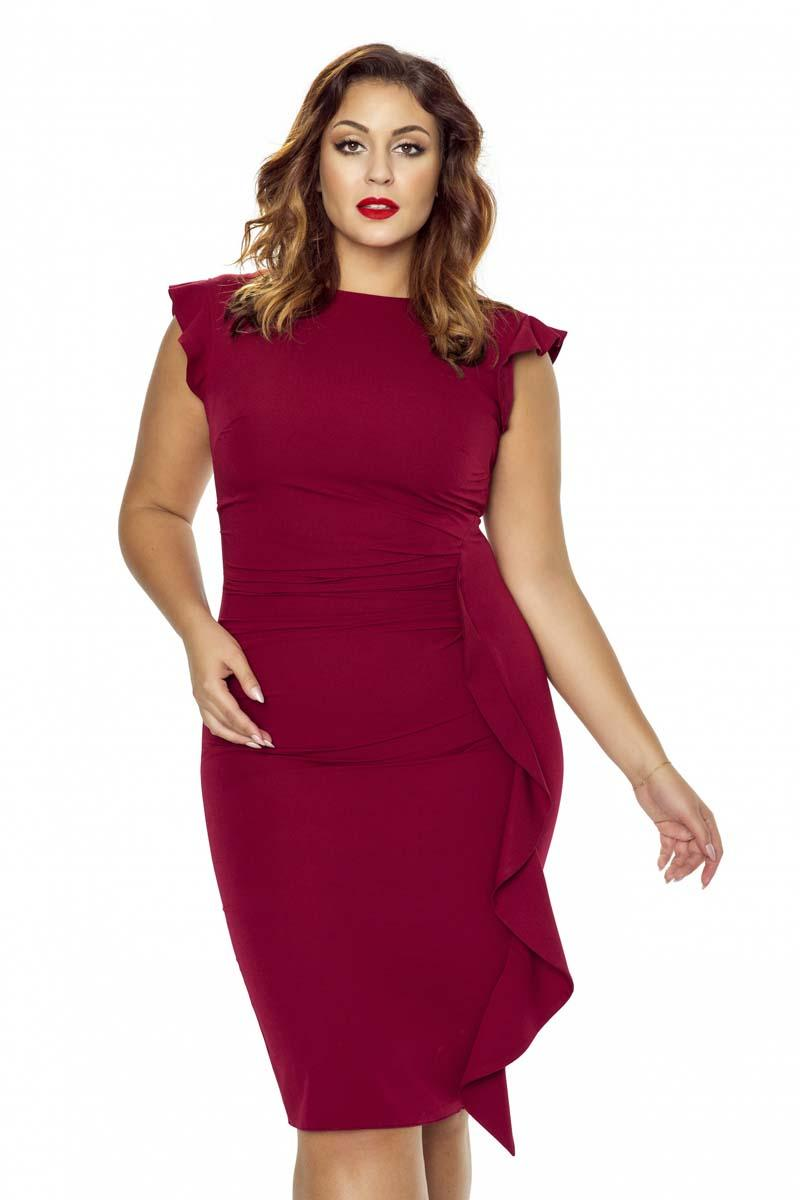 Maroon Coctail Dress with Frill PLUS SIZE