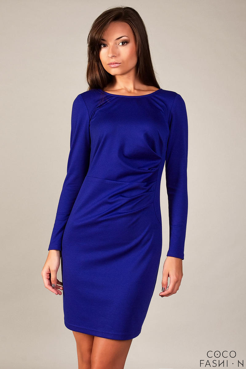 Blue Classic Elegant Draped Dress