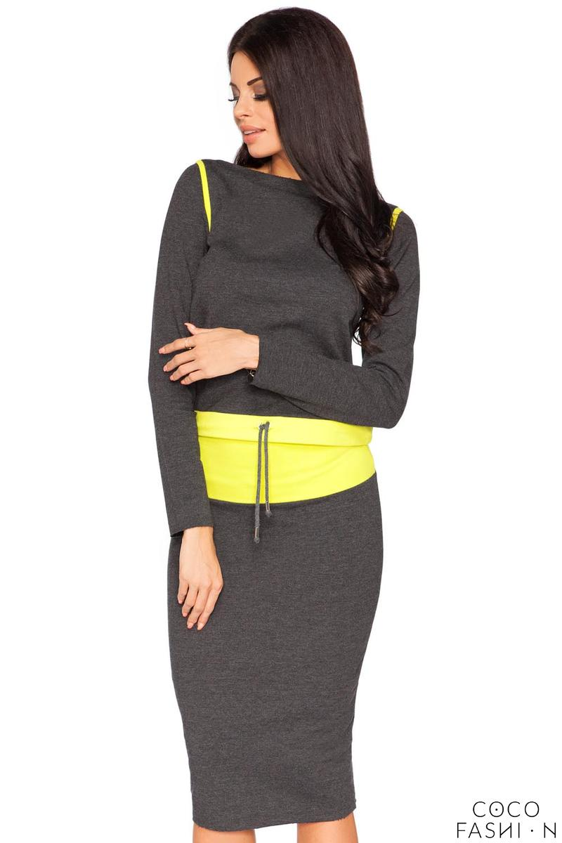 Dark Grey and Lime Fitted Sport Style Skirt