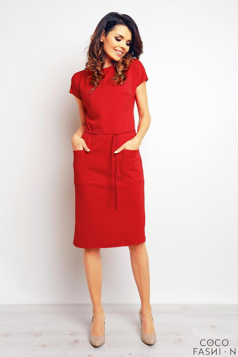 Red Casual Midi Dress with Big Pockets