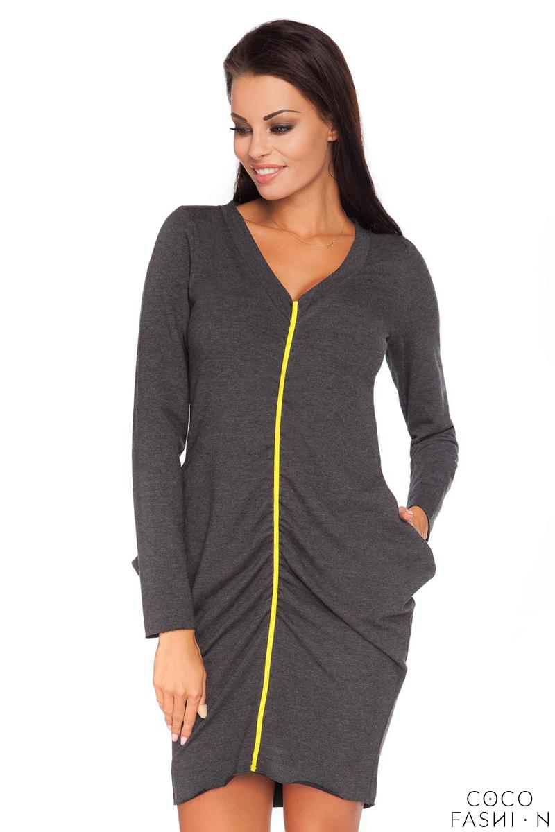 Dark Grey Wrinkled Contrasting Detail Dress