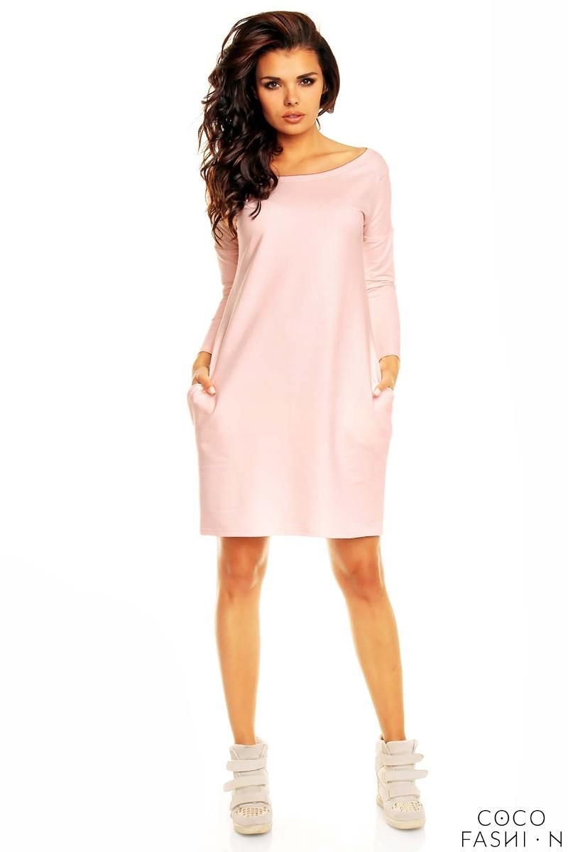 Pink Smartly Look Wiggle Long Sleeve Dress