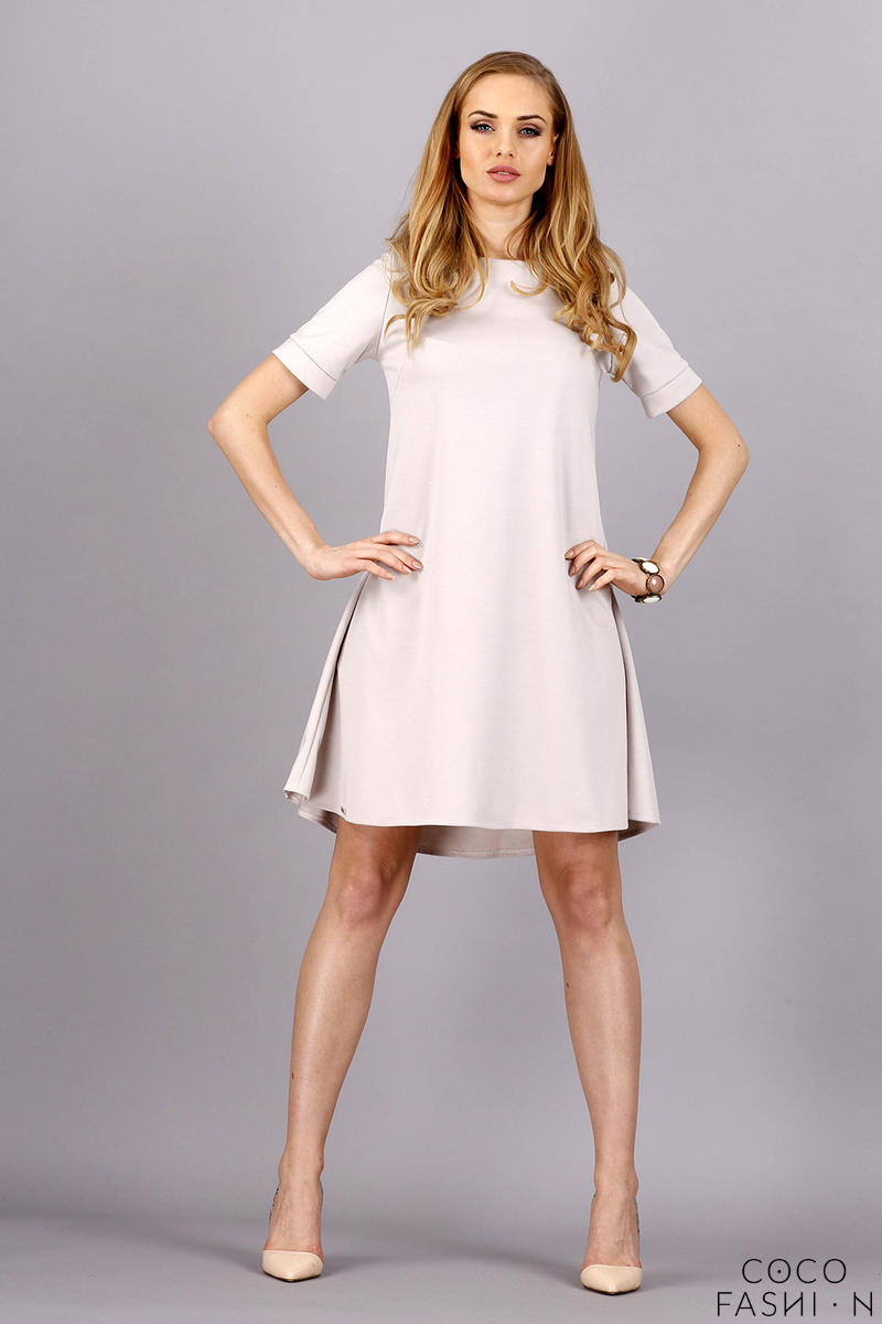 Beige Short Sleeves Flared Knee Lenght Dress от cocofashion